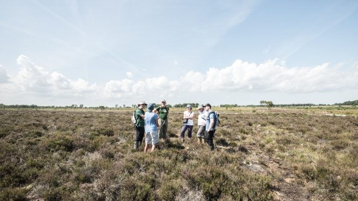 A small group of people - artists, scientists, conservationists - on a site visit to Bolton Fell Moss in north-east Cumbria. The group are standing on an elevated parcle of land that is surrounded by heather.