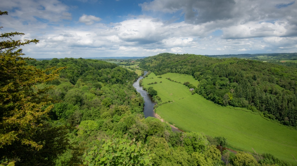 The River Wye photographed from Symonds Yat. The image shows a green summer landscape, with the river between woodlands and fields.